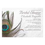 Modern Peacock Feathers Bridal Shower Invitations Personalized Invites