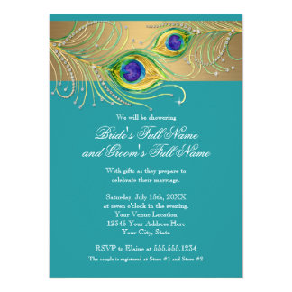 Modern Peacock Feathers Faux Jewel Bridal Shower 5.5x7.5 Paper Invitation Card