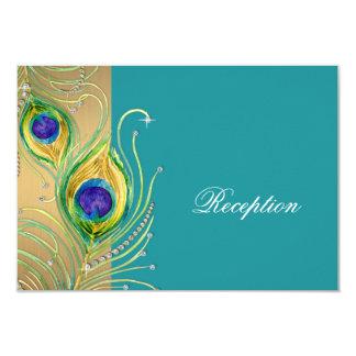 Modern Peacock Feathers Faux Jewel Scroll Swirl 3.5x5 Paper Invitation Card