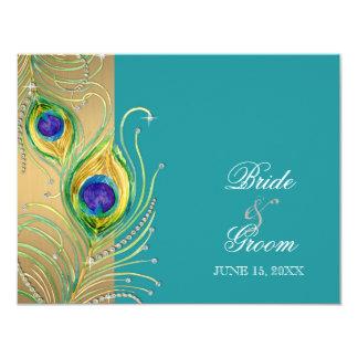 Modern Peacock Feathers Faux Jewel Scroll Swirl 4.25x5.5 Paper Invitation Card