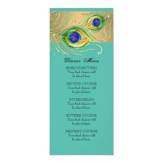 Modern Peacock Feathers Faux Jewel Scroll Swirl 4x9.25 Paper Invitation Card