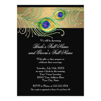 Modern Peacock Feathers Faux Jewel Scroll Swirl 5.5x7.5 Paper Invitation Card