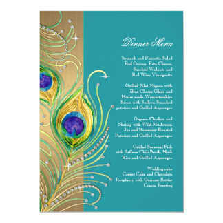 Modern Peacock Feathers Faux Jewel Scroll Swirl 5x7 Paper Invitation Card