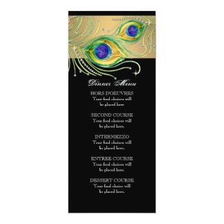 Modern Peacock Feathers Faux Jewel Scroll Swirl Card