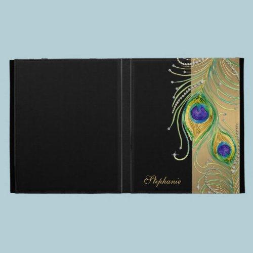 Modern Peacock Feathers Faux Jewel Scroll Swirl iPad Case