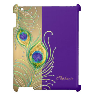 Modern Peacock Feathers Faux Jewel Scroll Swirl Case For The iPad 2 3 4