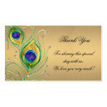 Modern Peacock Feathers Faux Jewel Scroll Swirl Double-Sided Standard Business Cards (Pack Of 100)