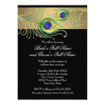 Modern Peacock Feathers Faux Jewel Scroll Swirl Personalized Announcement