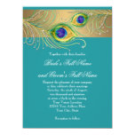 Modern Peacock Feathers Faux Jewel Scroll Swirl Personalized Invites
