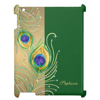 Modern Peacock Feathers Faux Jewel Scroll Swirl iPad Cases