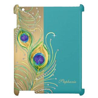 Modern Peacock Feathers Faux Jewel Scroll Swirl iPad Cover