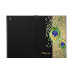 Modern Peacock Feathers Faux Jewel Scroll Swirl iPad Mini Cases at Zazzle