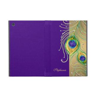 Modern Peacock Feathers Faux Jewel Scroll Swirl iPad Mini Cases