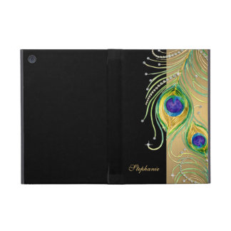 Modern Peacock Feathers Faux Jewel Scroll Swirl iPad Mini Cover