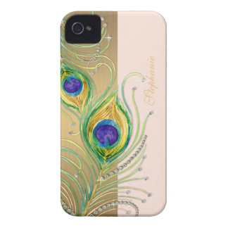 Modern Peacock Feathers Faux Jewel Scroll Swirl iPhone 4 Case-Mate Cases