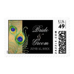 Modern Peacock Feathers Faux Jewel Scroll Swirl Postage Stamp