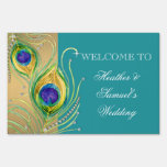 Modern Peacock Feathers Faux Jewel Scroll Swirl Signs