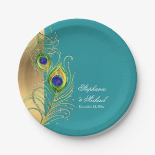 Modern Peacock Feathers Faux Jewel Scroll Weddings Paper Plate at Zazzle