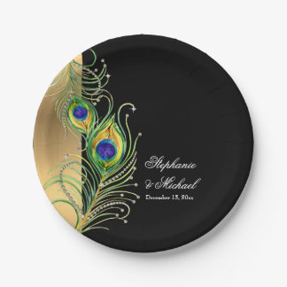 Modern Peacock Feathers Faux Jewel Scroll Weddings Paper Plate