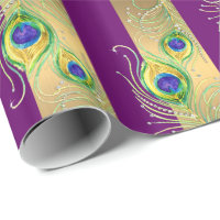 Modern Peacock Feathers Faux Jewel Striped Hearts Wrapping Paper