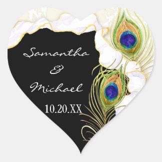 Modern Peacock Feathers Faux Ribbon Damask Swirl Heart Sticker
