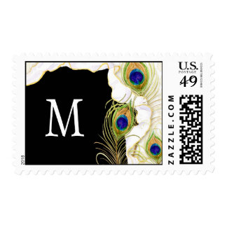 Modern Peacock Feathers Faux Ribbon Damask Swirl Postage