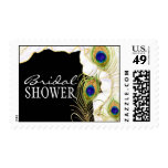 Modern Peacock Feathers Faux Ribbon Damask Swirl Postage Stamp