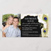 Modern Peacock Feathers Faux Ribbon Damask Swirl Save The Date