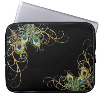 Modern Peacock Feathers Gold Swirl Name Laptop Computer Sleeves
