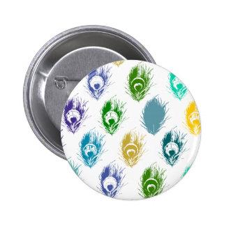 Modern Peacock feathers print art Pinback Button