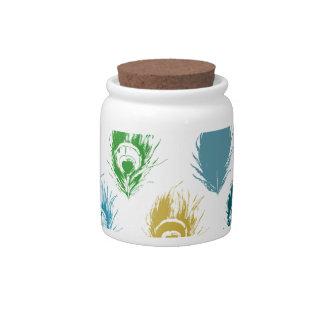 Modern Peacock feathers print art Candy Jar