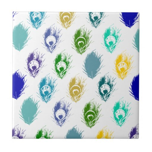 Modern Peacock feathers print art Ceramic Tiles