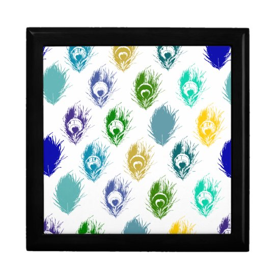 Modern Peacock feathers print art Jewelry Box