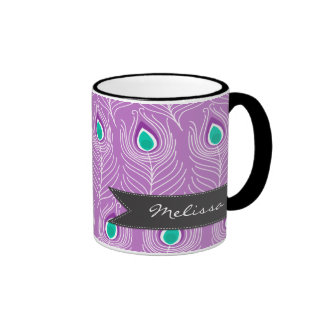 Modern Peacock Feathers Trendy and Personalized Coffee Mug