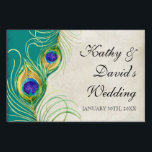 """Modern Peacock Feathers Wedding Ceremony Signage<br><div class=""""desc"""">These wedding ceremony, reception. bridal shower or other formal event signs have been created to match their wedding invitation sets. COLOR PALETTE: teal blue, royal blue green, peacock blue, gold, purple and cream tan. DESIGN COLLECTION:This is part of a Wedding Invitation Set of complete matching products. These Color Swirl Contemporary...</div>"""