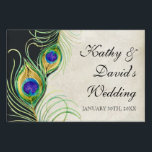 """Modern Peacock Feathers Wedding Ceremony Signage<br><div class=""""desc"""">These wedding ceremony, reception. bridal shower or other formal event signs have been created to match their wedding invitation sets. COLOR PALETTE: black, royal blue green, peacock blue, gold, purple and cream tan. DESIGN COLLECTION:This is part of a Wedding Invitation Set of complete matching products. These Color Swirl Contemporary Peacock...</div>"""