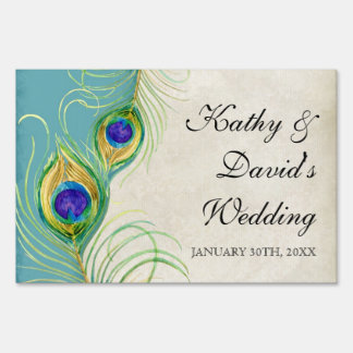 Modern Peacock Feathers Wedding Ceremony Signage Lawn Sign