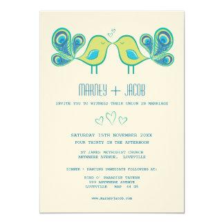 Modern Peacock Love Birds Wedding Monogram Card