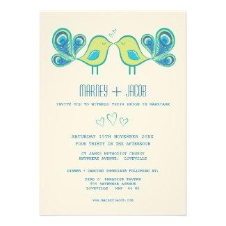 Modern Peacock Love Birds Wedding Monogram Custom Announcement
