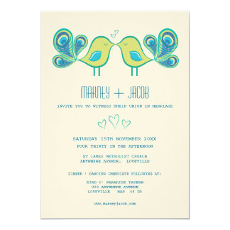 Modern Peacock Love Birds Wedding Monogram 5x7 Paper Invitation Card