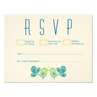Modern Peacock Love Birds Wedding RSVP Cards Custom Invitations