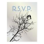 Modern Pearl LoveBirds Tree WeddingFavor Postcard
