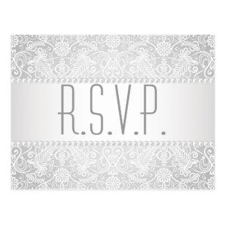 modern pearl white lace vintage wedding rsvp postcard