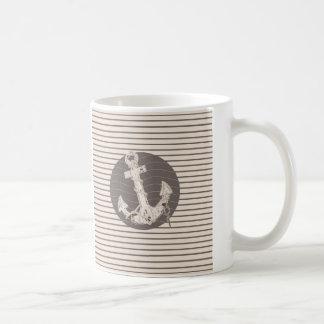 modern pencil stripes anchor nautical coffee mug