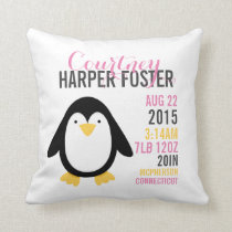 Modern Penguin Birth Announcement Nursery Pillow