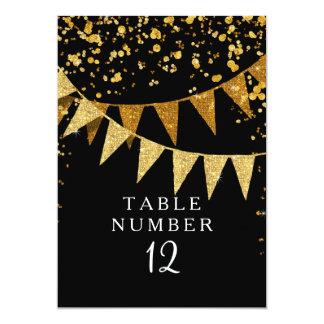 Modern Pennant Banner w Glitter Falling Confetti Card