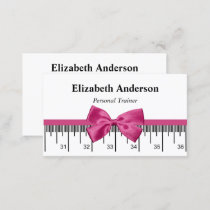 Modern Personal Trainer With Girly Pink Ribbon Business Card