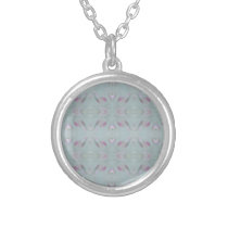Modern personalizable gray pattern silver plated necklace