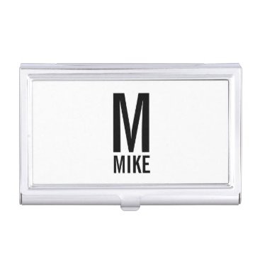 Professional Business Modern Personalized Bold Monogram and Name Business Card Holder