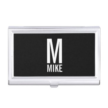 Professional Business Modern Personalized Bold Monogram and Name Case For Business Cards